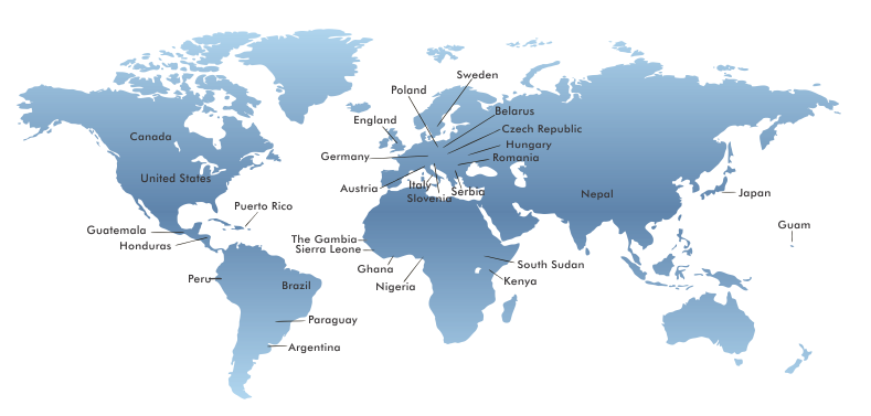 Az országok, ahol szolgálunk
