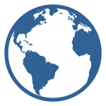 Blue and white world icon