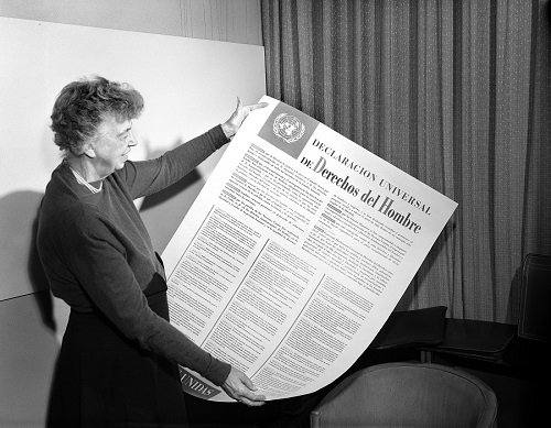 Eleanor Roosevelt looks at the Universal Declaration of Human Rights, November 1, 1949. UN Photo.