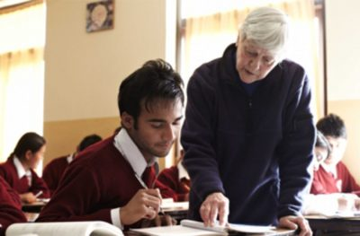 Sister Barbara with a student in Bandipur, Nepal.