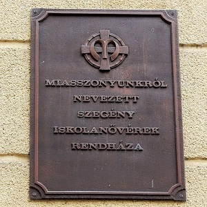 sign at entrance of Hungarian motherhouse, Budapest