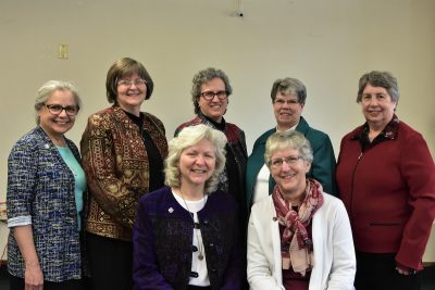 the members of the CP provincial council-elect are, left to right: Front, Sister Anna Marie Reha, provincial councilor/vicar, Sister Helen Jane Jaeb, provincial councilor; Back, Sister Christine Garcia, provincial councilor, Sister Mary Kay Brooks, provincial councilor, Sister Debra Sciano, provincial leader, Sister Dawn Achs, provincial councilor, Sister Lynne Schmidt, provincial councilor.