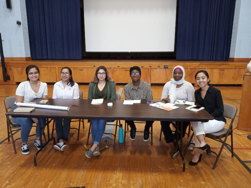 NDMU student presention re CSW63: left to right - Mary Grace, Tavia, Jeannette, CJ, Katherine,Christine.