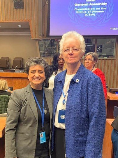Sister Mirian (Brazil) and Sister Eileen Reilly during CSW63 at the United Nations, New York.