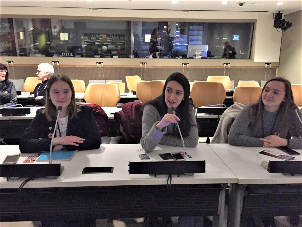 Hungarian students try out the equipment before a session at CSW63.