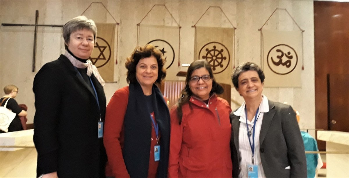 Sister Andrea, Anilse, Sister Beatriz and Sister Mirian in the United Nations Church Center for a session.