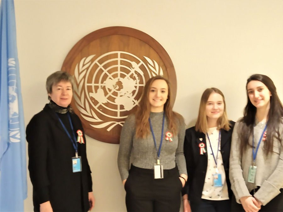 March 15: The Hungarian members of the SSND delegation at the UN CSW63 wore special ribbons on March 15 commemorating the day as the anniversary of the Hungarian Revolution of 1848. (From left) Sister M. Andrea, Mira, Bori, and Viola . This is one of the most prominent National Days in Hungary.