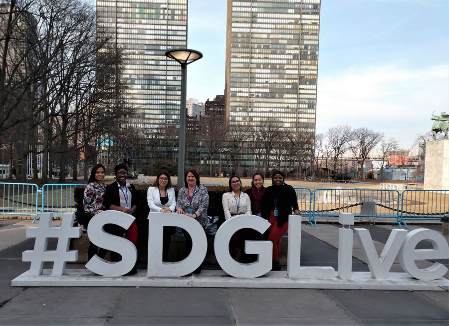 Notre Dame of Maryland University (NDMU) students and faculty members of the SSND delegation to CSW63