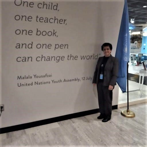Sister Mirian inspired by this quote: One child, one teacher, one book, and one pen can change the world.