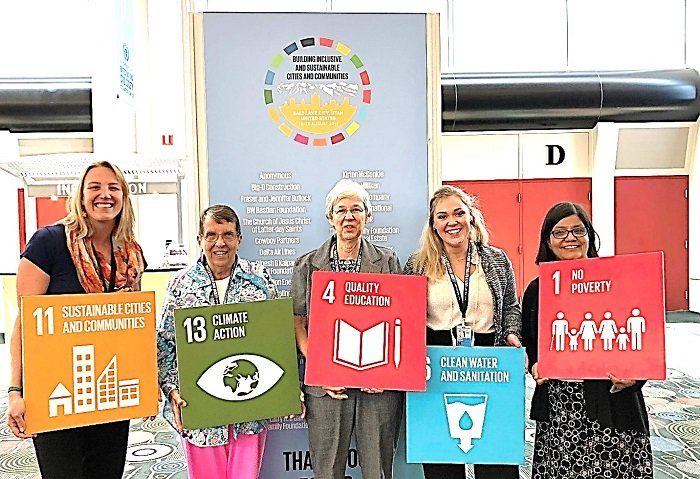 The SSND delegation to the 68th UN Civil Society Conference: left to right, Laura Peterson, Sister M. Heather McKinnon, Sister Pamela Jablon, Elizabeth Mueller, Sister Beatriz Martinez
