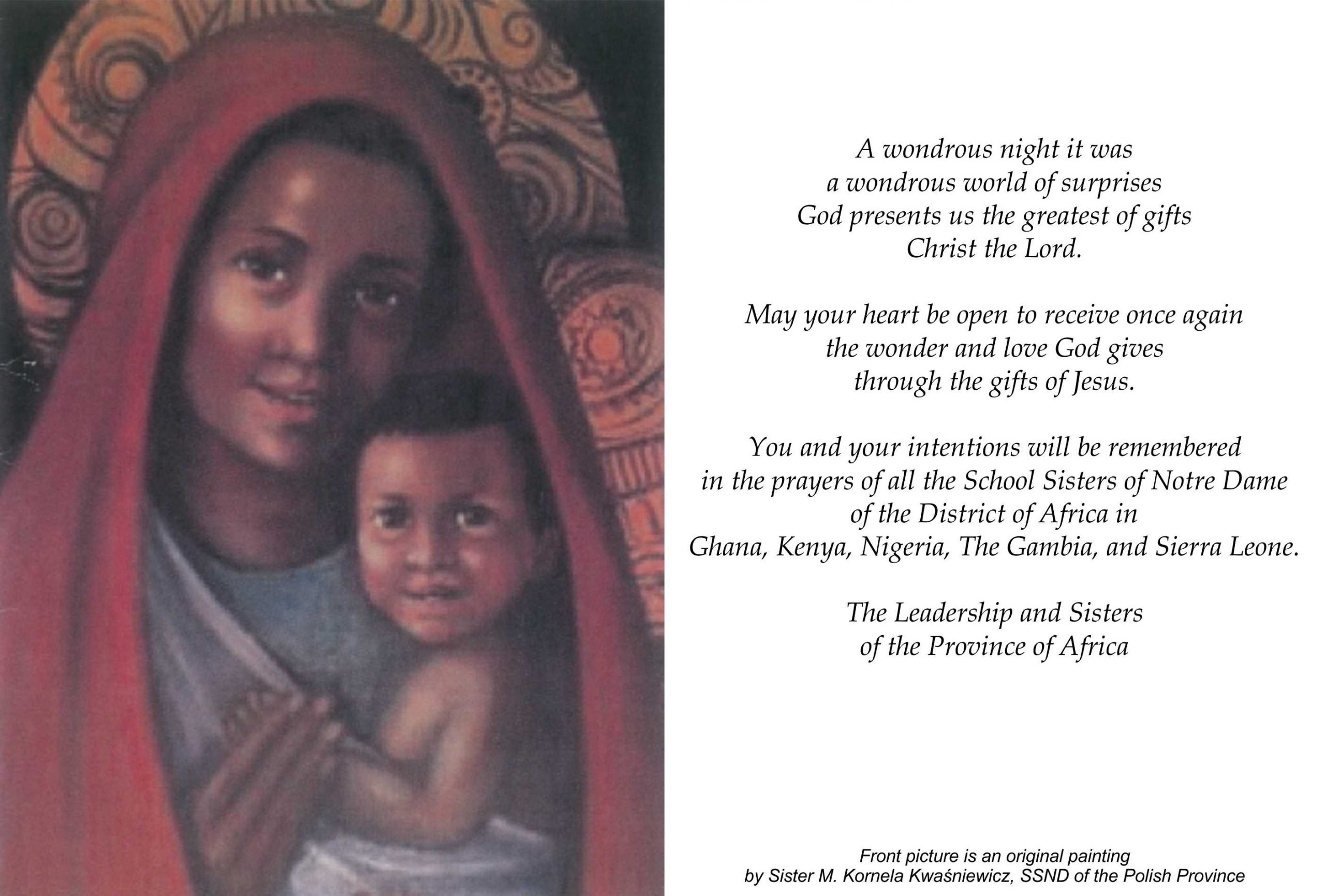 Christmas greeting from the sisters of the Province of Africa.
